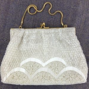 Vintage Made in Hong Kong ivory beaded evening bag